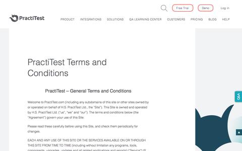 Screenshot of Support Page practitest.com - PractiTest Terms and Conditions- Test Case Management Software - captured Nov. 14, 2016