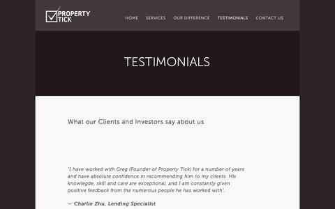 Screenshot of Testimonials Page propertytick.com - Testimonials — Property Tick - captured July 18, 2016