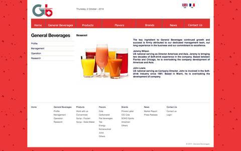 Screenshot of Team Page generalbev.com - Management - captured Oct. 2, 2014