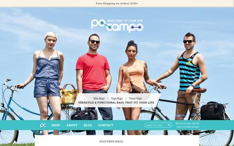 Screenshot of Home Page pocampo.com - Bike Bags, Crossbody Bags, and Travel Bags | Po Campo - captured July 21, 2015