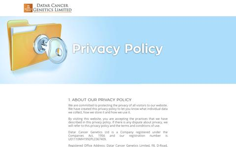 Screenshot of Privacy Page datarpgx.com - Privacy Policy | Datar Cancer Genetics Limited - captured Oct. 12, 2017