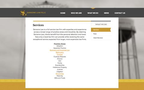Screenshot of Services Page sansonelawpllc.com - Services - Sansone Law PLLC - captured Sept. 30, 2014