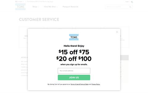 Screenshot of Support Page toms.com - Customer Service Contact Information | TOMS® - captured April 20, 2018