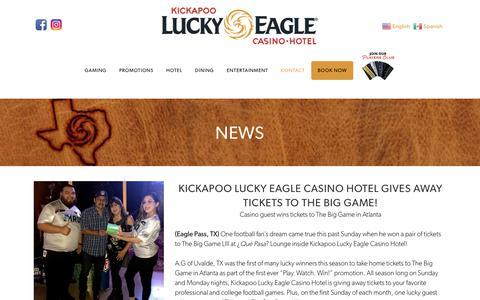 Screenshot of Press Page luckyeagletexas.com - Kickapoo Lucky Eagle Casino Hotel in Eagle Pass, Texas! | News - captured Oct. 15, 2018