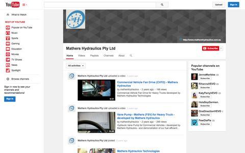 Screenshot of YouTube Page youtube.com - Mathers Hydraulics Pty Ltd  - YouTube - captured Nov. 3, 2014