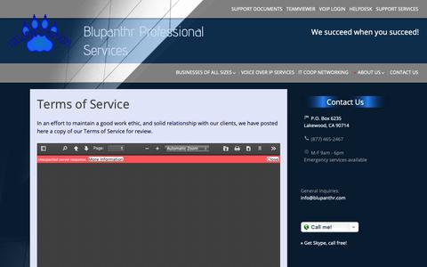 Screenshot of Terms Page blupanthr.com - Terms of Service | Blupanthr Professional Services - captured Nov. 13, 2018