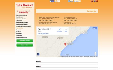 Screenshot of Contact Page seabreezechios.com - Contact Us,  Chios Sea Breeze Hotel Apartments & Residences   seabreezechios.com - captured Oct. 26, 2014