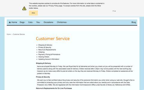 Screenshot of Support Page dougalsden.co.uk - Customer Service - captured Jan. 7, 2016