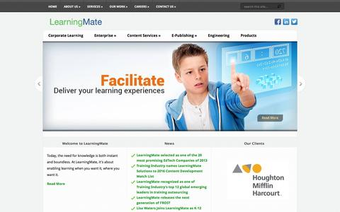 Screenshot of Home Page learningmate.com - LearningMate Solutions Pvt Ltd | Innovative and Effective Learning Solutions - captured July 12, 2016