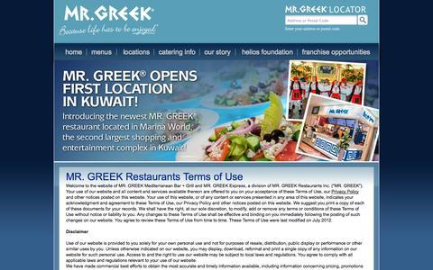 Screenshot of Terms Page mrgreek.com - Terms of Use | Greek Restaurant in Toronto Greek Restaurants - captured Oct. 4, 2014