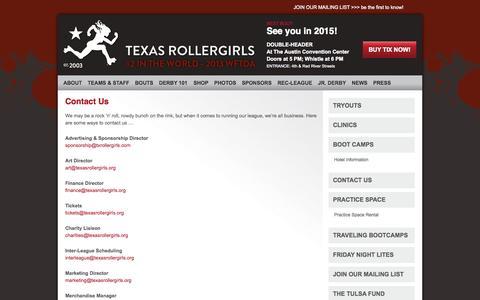 Screenshot of Contact Page texasrollergirls.org - Contact Us | Austin Texas Roller Derby | Texas Rollergirls - captured Oct. 5, 2014