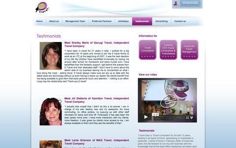 Screenshot of Testimonials Page etravel.co.za - eTravel | Testimonials - captured Oct. 1, 2014