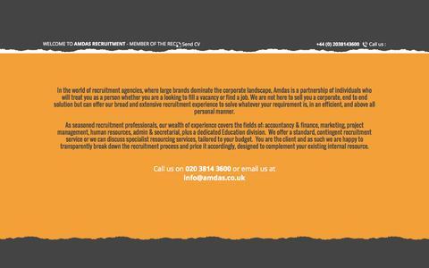 Screenshot of Home Page amdas.co.uk - Amdas Recruitment - captured Oct. 3, 2015