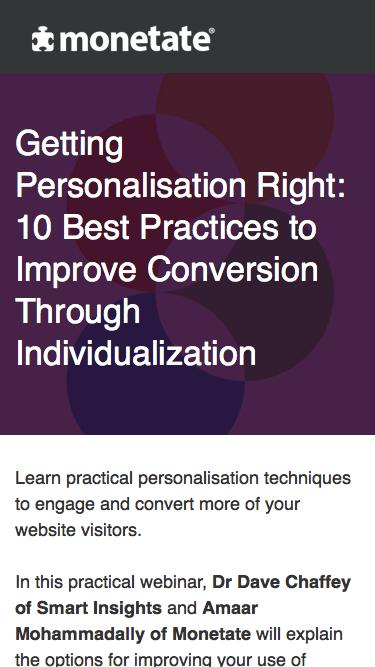 Webinar: Getting Personalisation Right: 10 Best Practices to Improve Conversion