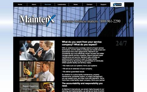 Screenshot of Services Page mainten-x.com - MaintenX | The Service Company for All Your Maintenance Needs - captured Oct. 4, 2014