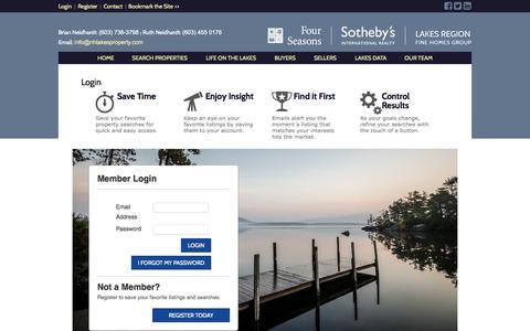 Screenshot of Login Page nhlakesproperty.com - Four Seasons Sothebys International Realty Meredith NHLake Winnipesaukee Real Estate | Lakes Region NH Real Estate - captured Oct. 6, 2014