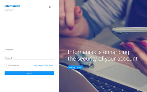 Screenshot of Login Page infomaniak.com - Infomaniak Manager - Logging into your console - captured Jan. 31, 2018