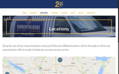Screenshot of Locations Page bibbentuckers.com - Bibbentuckers Locations - Dallas, Plano & Southlake Dry Cleaners - captured Nov. 22, 2016