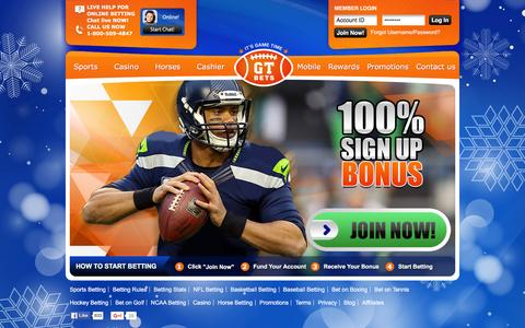 Screenshot of Home Page gtbets.eu - Football Betting, NFL & More Sports Betting at GTbets Sportsbook - captured Jan. 17, 2016