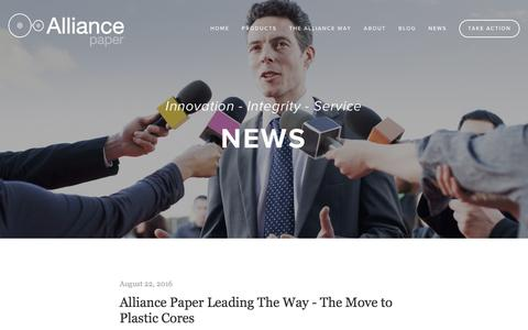 Screenshot of Press Page alliancepaper.com.au - News — Alliance Paper - captured Nov. 20, 2016