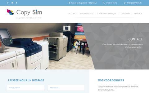 Screenshot of Contact Page copysim.be - Copy Sim, imprimerie, photocopies, impression, Herve, Verviers, Liège - captured June 2, 2016
