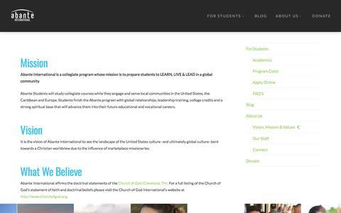 Vision, Mission & Values - Abante International