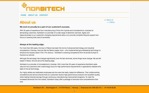 Screenshot of About Page norbitech.com - About us |  Norbitech AS - captured Oct. 9, 2014