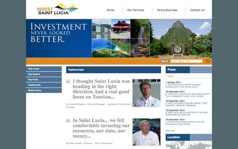 Screenshot of Testimonials Page investstlucia.com - Invest Saint Lucia   National Investment Promotion Agency of St. Lucia   Testimonials - captured Oct. 6, 2014