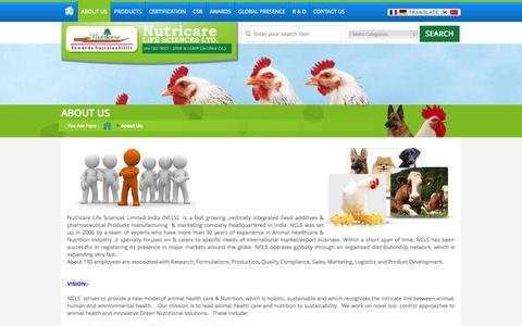 Screenshot of About Page nutricare.in - Animal Nutrition,Animal Healthcare Products in India - captured Nov. 4, 2014