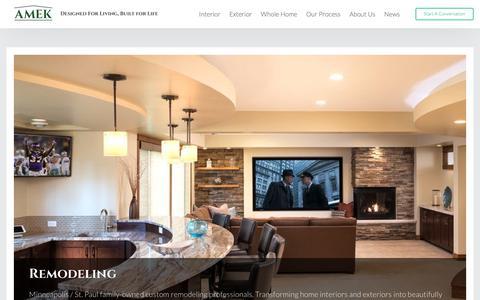 Screenshot of Home Page amekinc.com - AMEK Home Remodeling – Designed for living, built for life. - captured Oct. 2, 2018