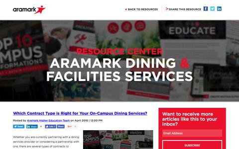 Screenshot of Blog aramark.com captured May 21, 2017
