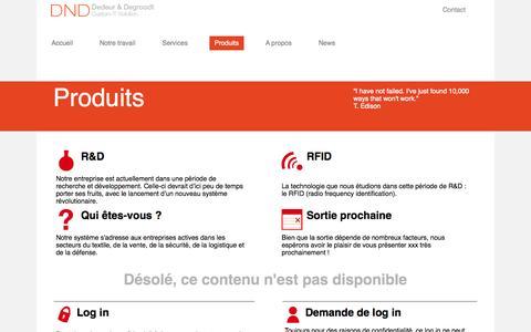 Screenshot of Products Page dedeurdegroodt.com - Dedeur & Degroodt - Produits - captured Sept. 30, 2014