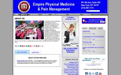 Screenshot of About Page manhattanpainrelief.com - About Us - captured Nov. 2, 2014