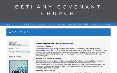 Screenshot of About Page bethanycovenant.com - About Us – Bethany Covenant Church - captured Oct. 5, 2018