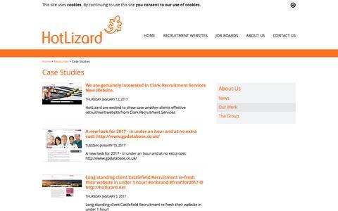 Screenshot of Case Studies Page hotlizard.net - Case Studies - HotLizard - captured May 22, 2017