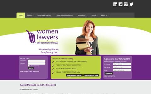 Screenshot of Home Page womenlawyersnsw.org.au - HOME - Women Lawyers Association of NSW - captured March 4, 2016