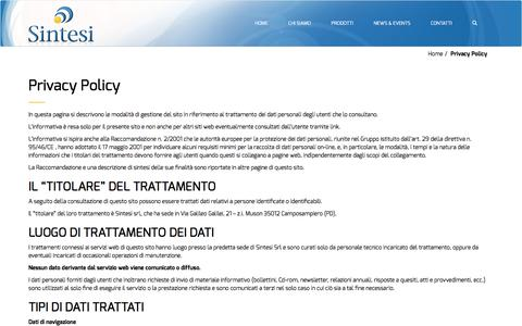 Screenshot of Privacy Page sintesisrl.net - Privacy Policy | Sintesi - captured May 27, 2017