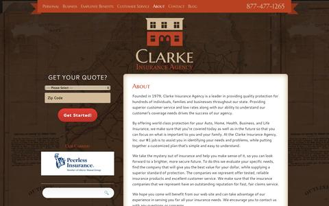 Screenshot of About Page clarkeinsurance.com - About Us | Clarke Insurance Agency - captured Oct. 2, 2014