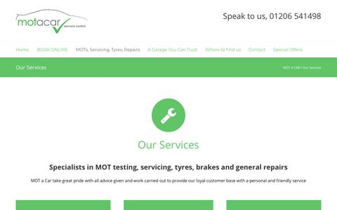 Screenshot of Services Page motacar.com - MOTs, Tyres, Services, Repairs at MOT-a-Car Colchester - captured July 25, 2018