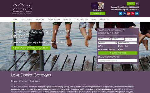 Screenshot of Home Page lakelovers.co.uk - Lake District Cottages | Holiday Cottages Lake District - Lakelovers Lake District Holiday Cottages - captured July 18, 2015