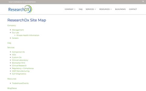 Screenshot of Site Map Page researchdx.com - Site Map – ResearchDx - captured Oct. 20, 2018