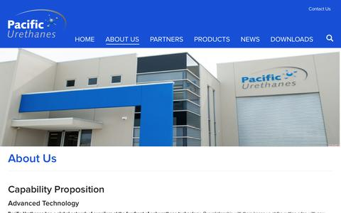 Screenshot of About Page pacificurethanes.com - About Us | Pacific Urethanes - captured Sept. 26, 2018