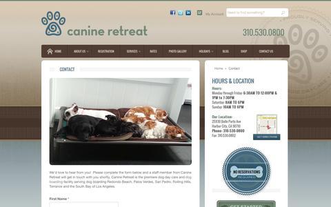 Screenshot of Contact Page canineretreat.com - Dog Boarding Redondo Beach - Canine Retreat - captured Sept. 27, 2014