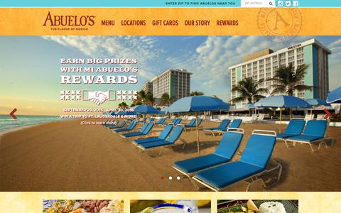 Screenshot of Home Page abuelos.com - Abuelo's Mexican Food Restaurant - Mexican Restaurant - captured Jan. 16, 2016