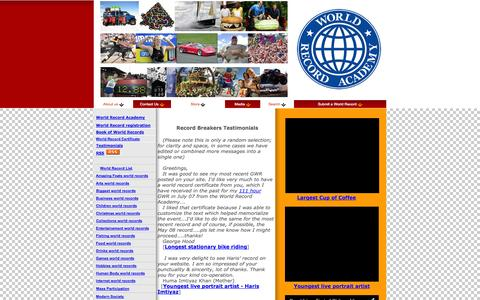 Screenshot of Testimonials Page worldrecordacademy.com - Most expensive cheese sandwich - world record set by Chef Martin Blunos - captured Oct. 30, 2014