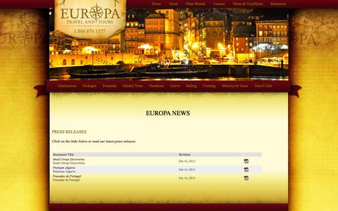 Screenshot of Press Page europatravel.ca - News - Europa Travel & Tours - captured Oct. 3, 2014