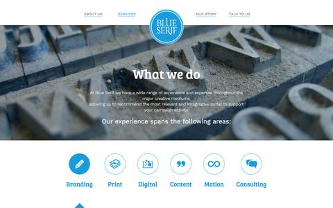 Screenshot of Services Page blueserif.co.uk - Services - Blue Serif - captured Aug. 2, 2018