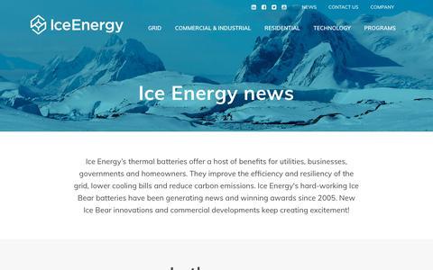 Screenshot of Press Page ice-energy.com - News - Ice Energy - Ice Bear System Storage Solution - captured Nov. 6, 2019