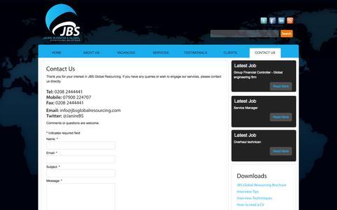 Screenshot of Contact Page jbsglobalresourcing.com - Contact Us   JBS Global Resourcing - captured Oct. 6, 2014