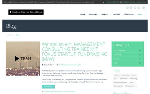 Screenshot of Blog berlin-startup-consulting.com - Blog | Berlin Startup Consulting GmbH - Accelerate your Startup! - captured Sept. 30, 2014